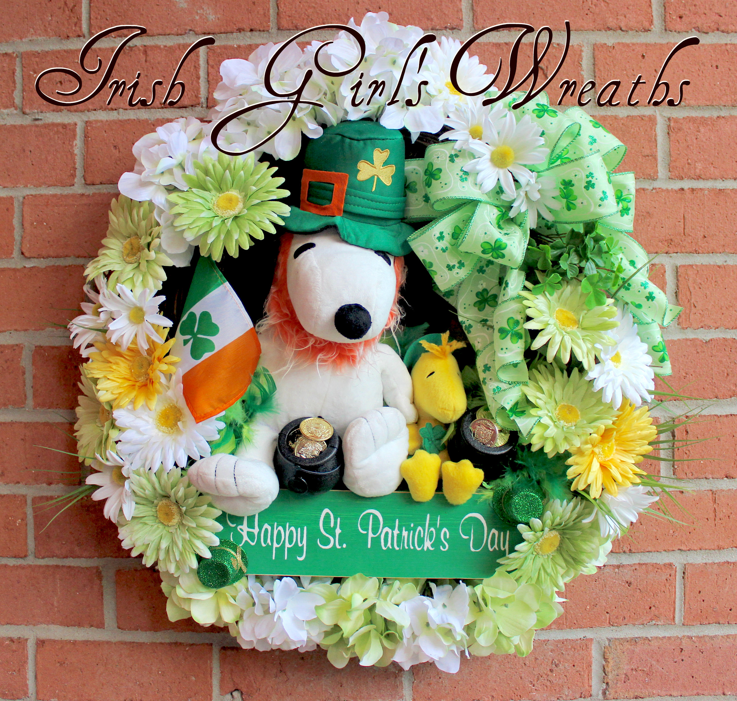 Snoopy and Woodstock St. Patrick's Wreath, custom for Jessica