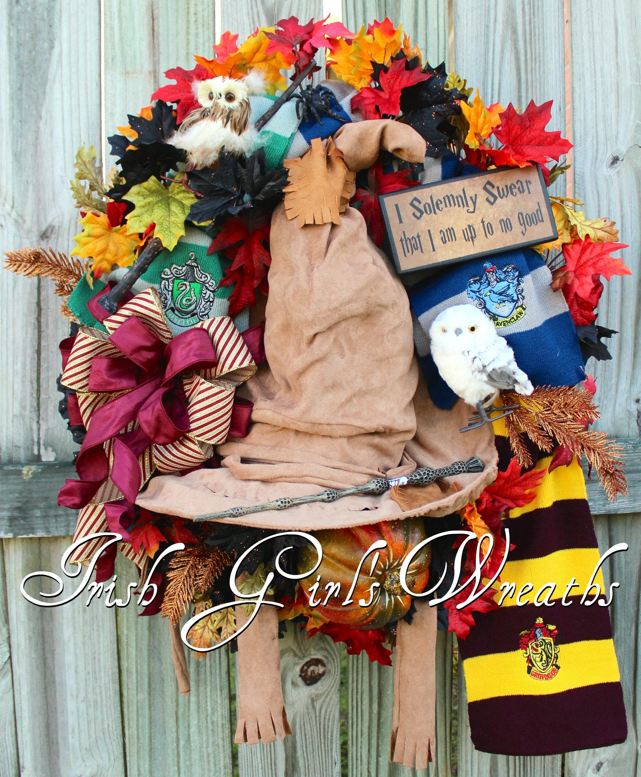 XL Hogwarts Harry Potter Sorting Hat Halloween Wreath, Gryffindor, Ravenclaw, Slytheryn, Owl, I Solemnly Swear I'm Up to No Good