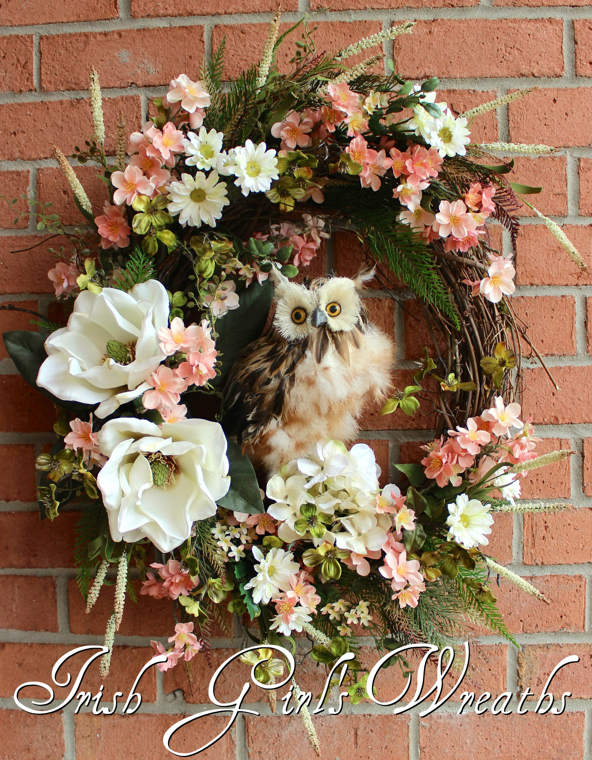 Large Spring Blossom Owl Wreath, Peach Blossoms, Dogwood, Magnolia, Daisy, floral Wreath