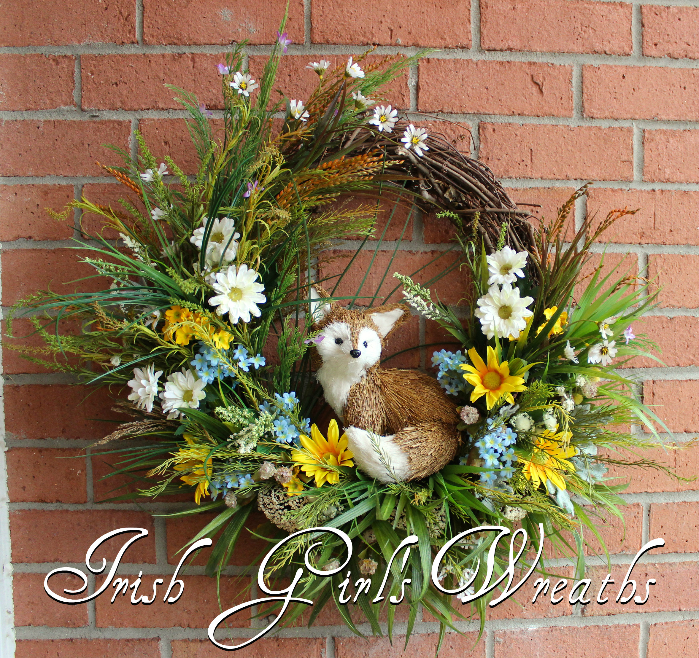 Rustic Fox in Summer Meadow Wreath