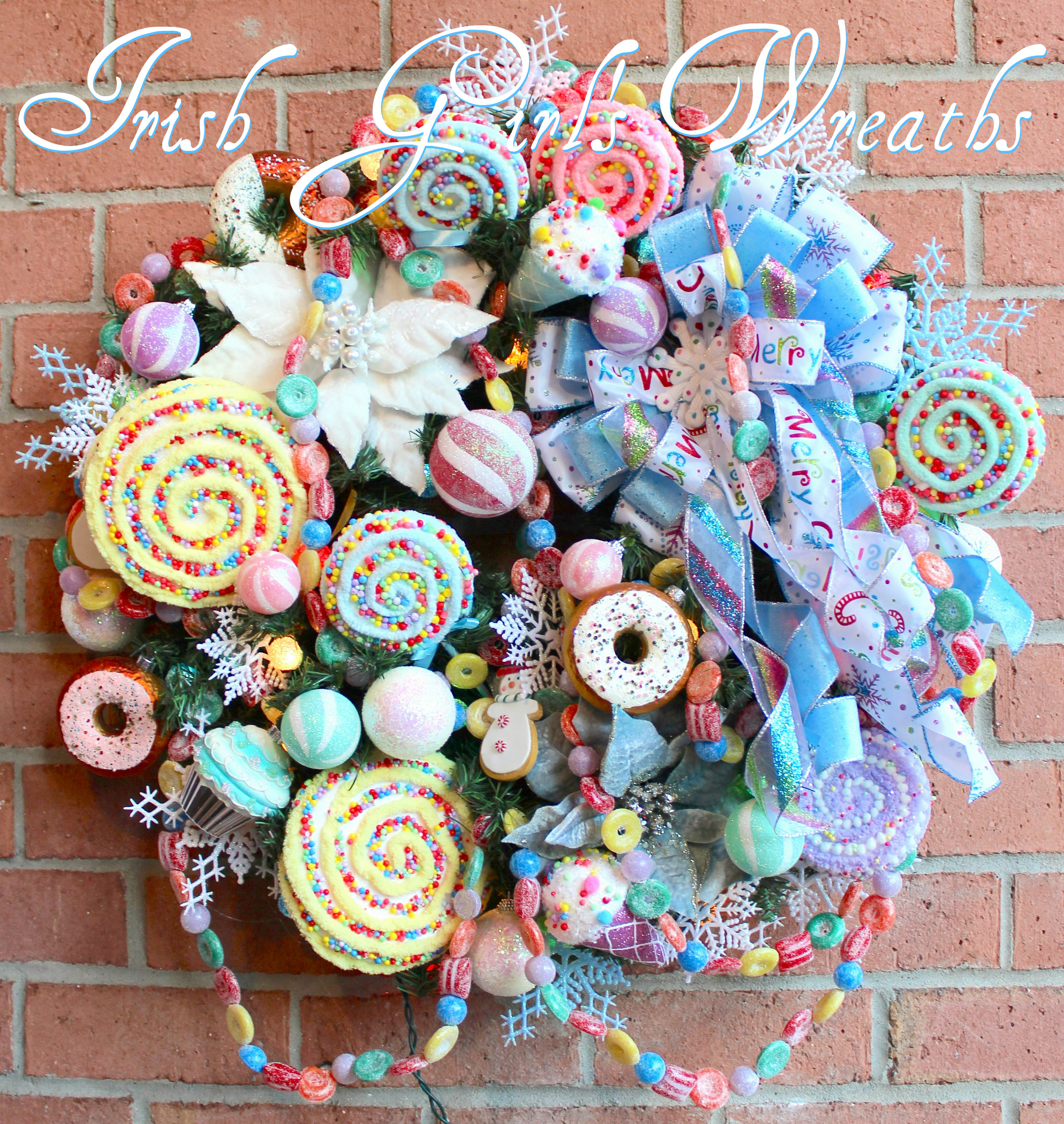 Sweet Treat Candy Christmas Wreath, Pre-lit sugared ball candy lights, Pastel Christmas