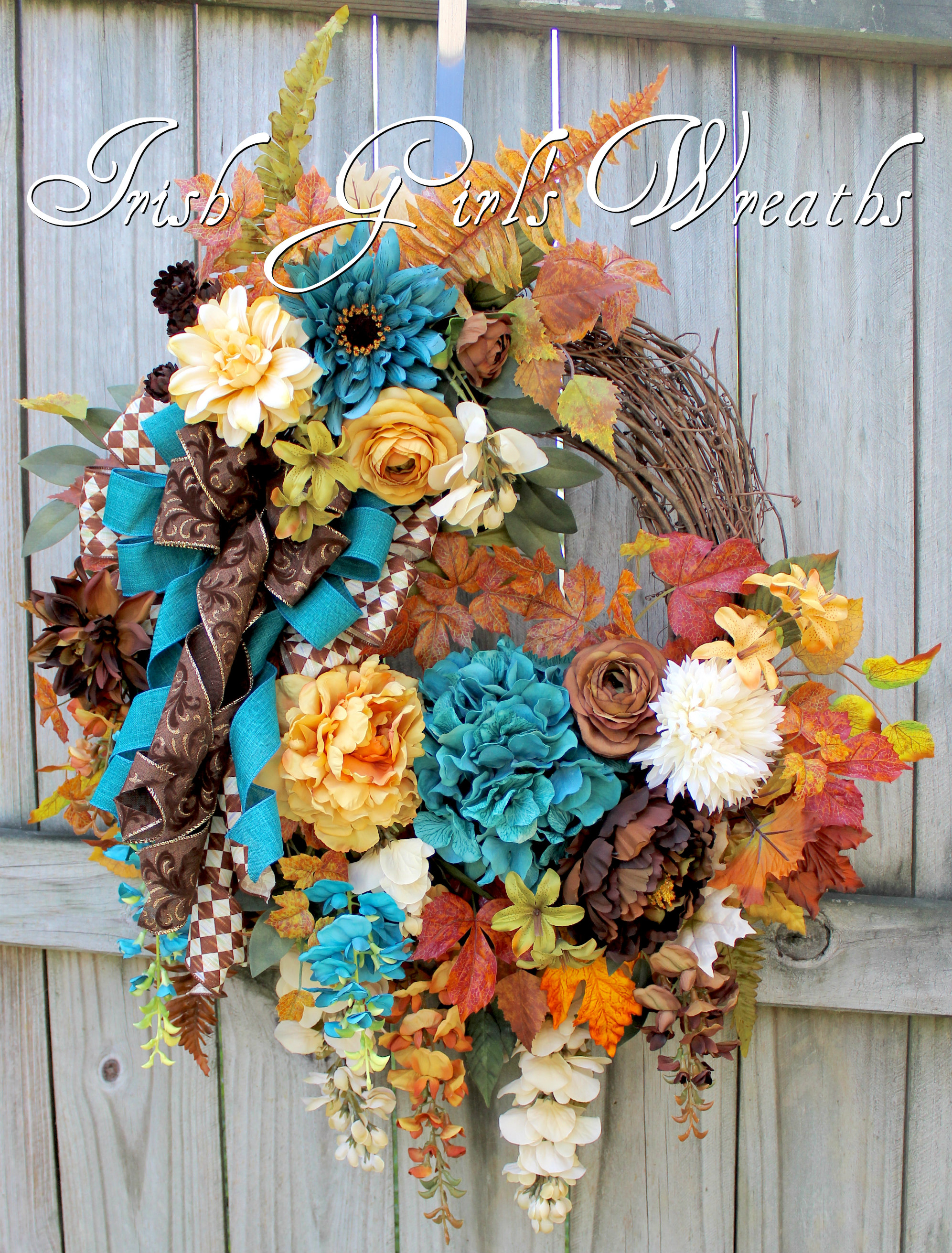 Elegant Teal Ivory Brown Extra Large Fall Wisteria Wreath, Gold, Cream, Tuscan Autumn Wreath