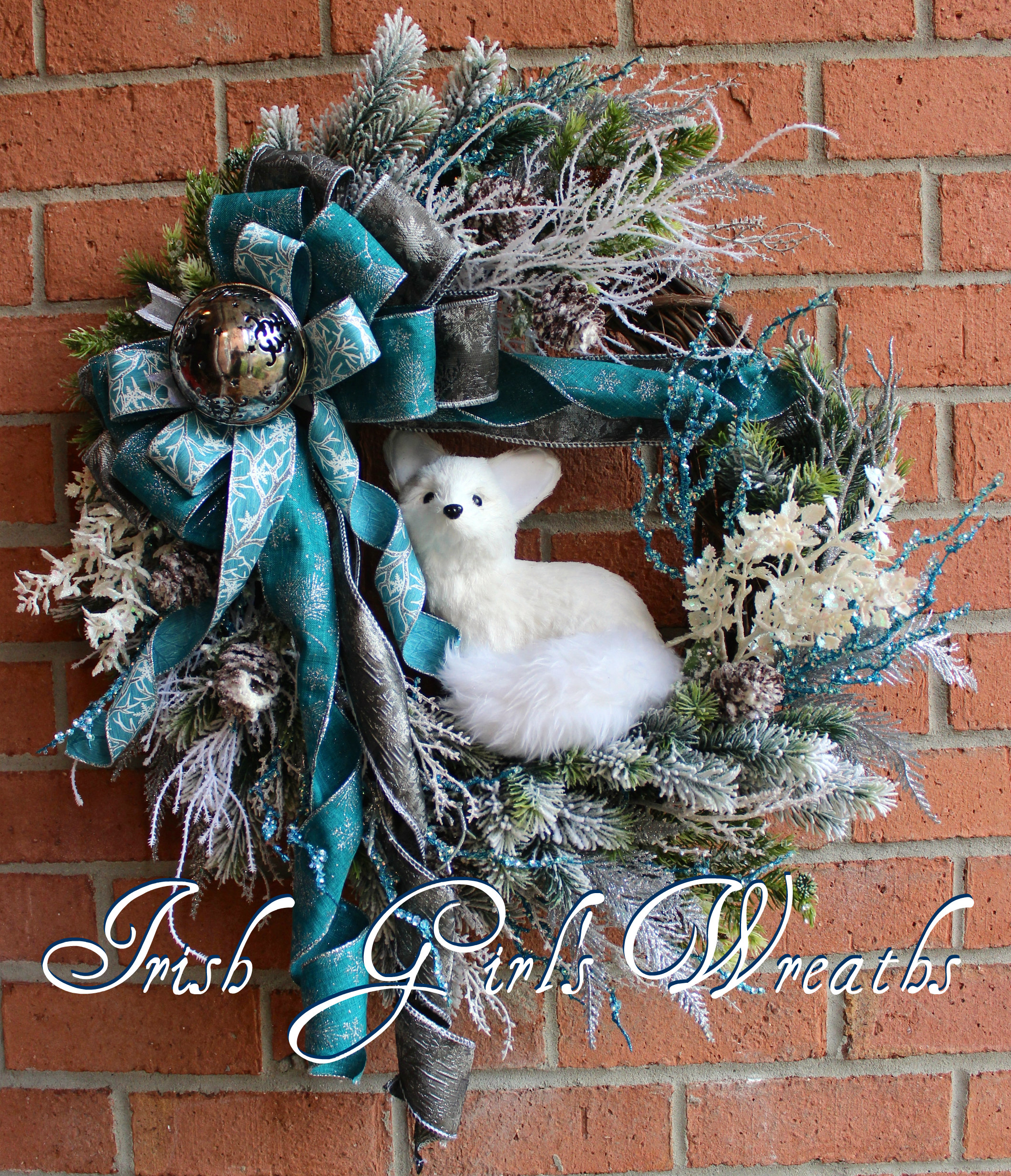 Teal and Silver Arctic Fox Winter Woodland Wreath