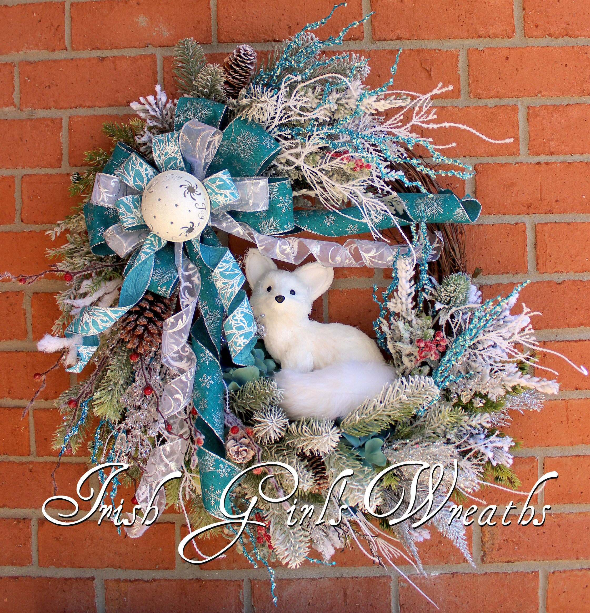 Turquoise Winter Woodland Fox Wreath