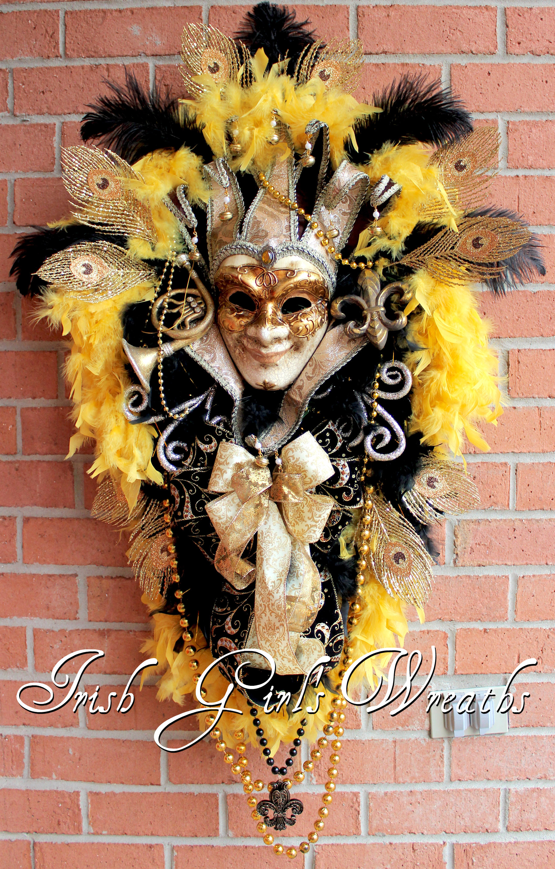 XL Elegant Venetian Jester Mardi Gras Swag- Black Tuscan Gold and warm Chocolate Brown Carnival Masquerade Wreath