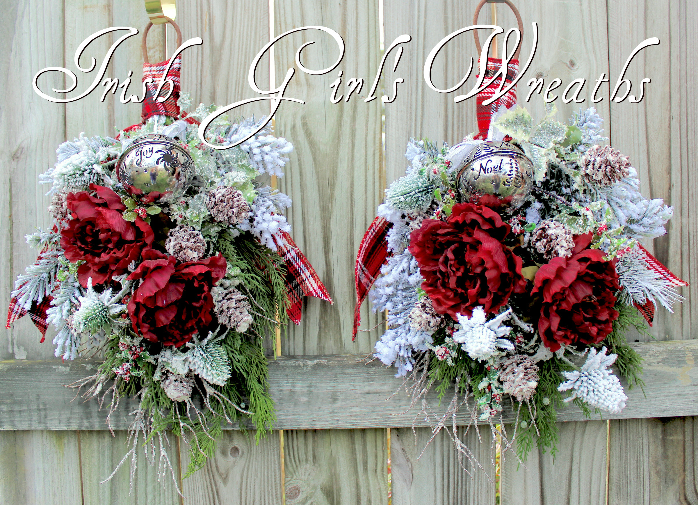 Double Door twin Rustic Burgundy Winter Floral Swags, Custom for Karen