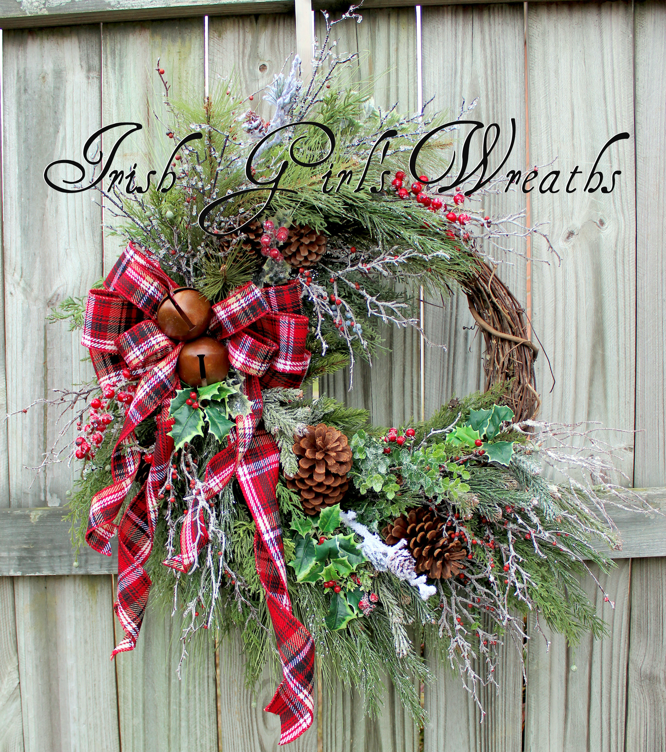 Rustic Winter Woods Cabin Country Christmas Wreath, XL Tartan Plaid Winter floral decor