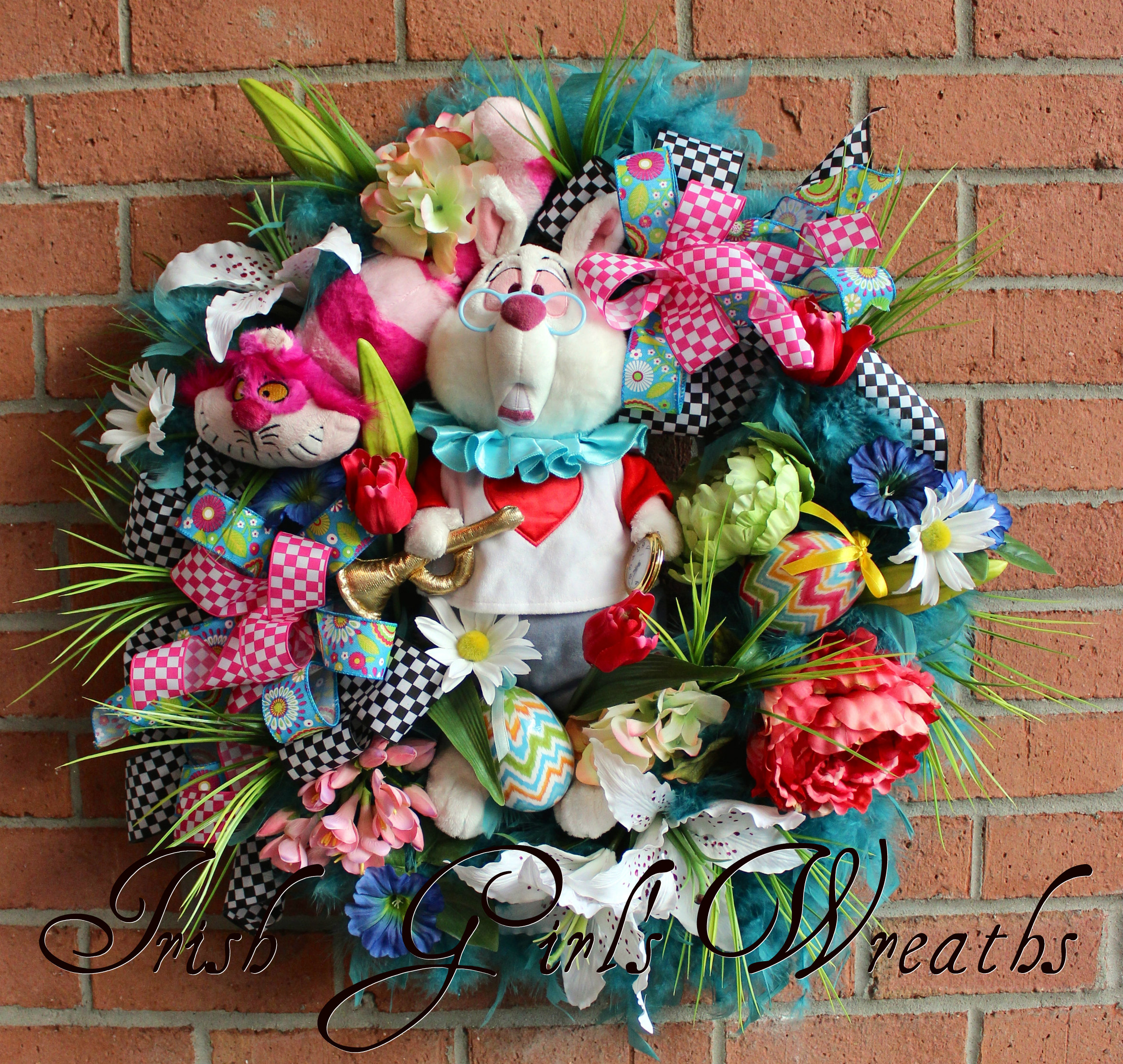 Alice in Wonderland White Rabbit Easter Wreath, Cheshire Cat
