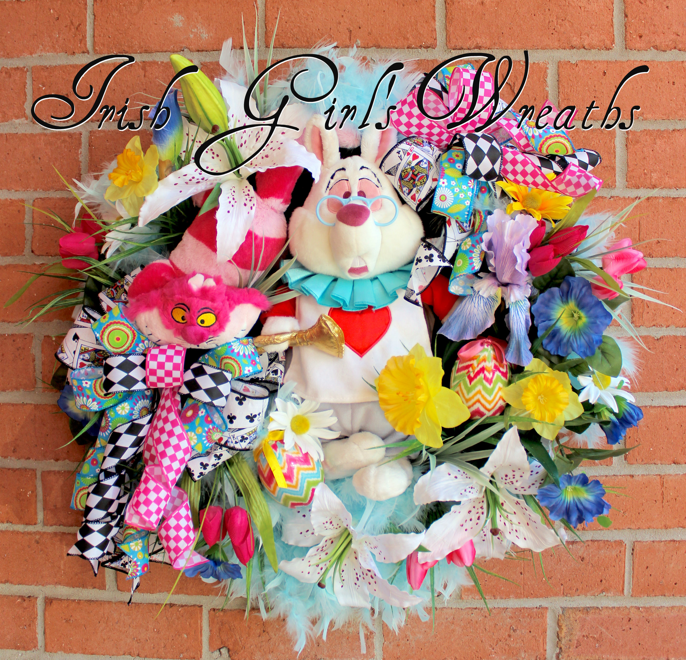 Alice in Wonderland White Rabbit Easter Wreath, Spring Floral Wreath, Cheshire Cat